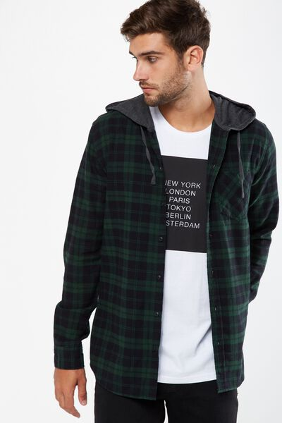 Rugged Hooded Shirt, BLACK/GREEN CHECK