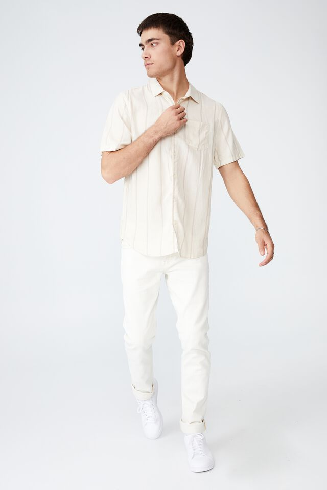 Vacay Short Sleeve Shirt, TRI COLOURED SPACE STRIPE