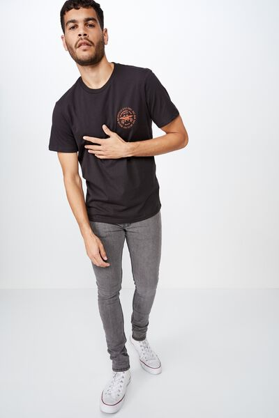 Tbar Moto T-Shirt, WASHED BLACK/POST MODERN MOTOROCYCLES