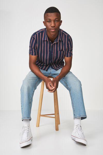 Vintage Prep Short Sleeve Shirt, NAVY RED STRIPE