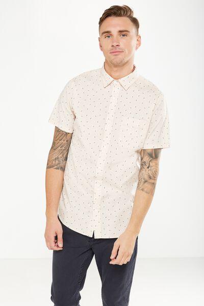 Vintage Prep Short Sleeve Shirt, PINK DITSY PRINT