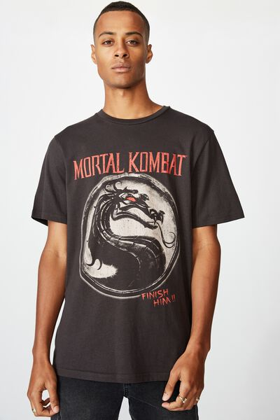 Tbar Collab Pop Culture T-Shirt, LCN WB WASHED BLACK/MORTAL KOMBAT - FINISH HIM
