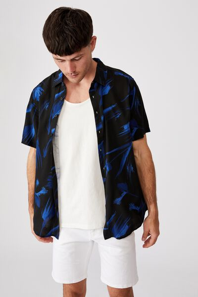 Short Sleeve Resort Shirt, DARK PAINTERLY FLORAL