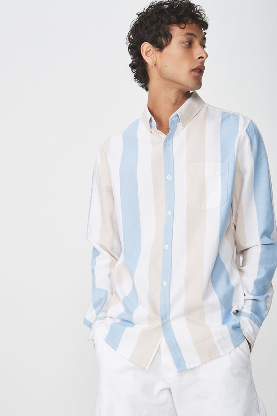 Brunswick Shirt 3, ECRU BLUE BOLD STRIPE