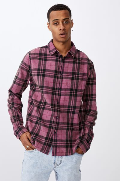 Washed Long Sleeve Check Shirt, PURPLE CHECK