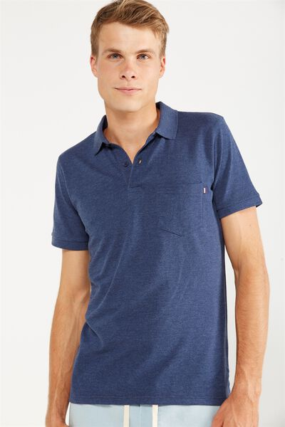 Icon Polo, NAVY MARLE/POCKET SLIM