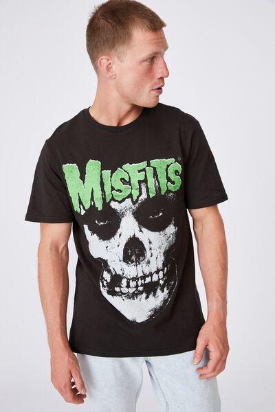 Tbar Collab Music T-Shirt, LCN MIS WASHED BLACK/MISFITS-FIEND