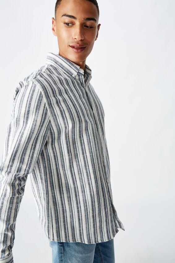 Textured Long Sleeve Shirt, BLUE STRIPE