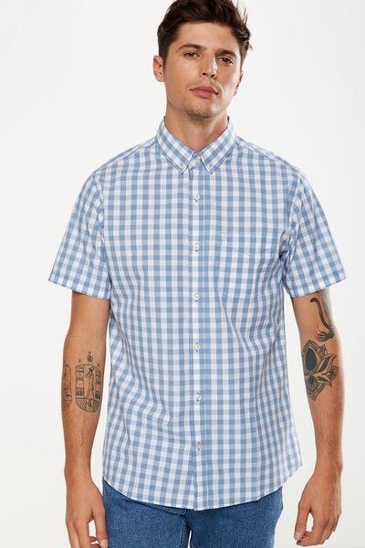 Vintage Prep Short Sleeve Shirt, SKY GINGHAM CHECK