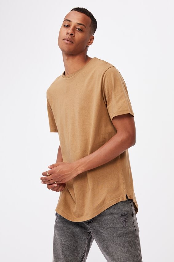 Essential Longline Scoop T-Shirt, AGED CAMEL