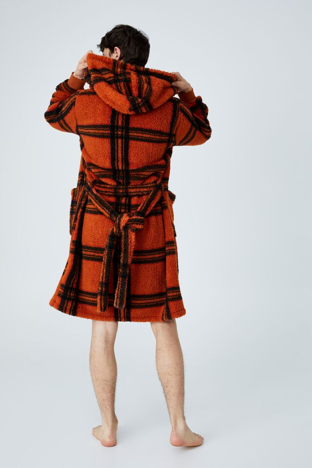 Mens Plush Gown, ORANGE CHECK