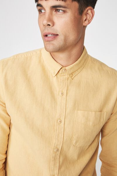 Premium Linen Cotton Long Sleeve Shirt, LIGHT MUSTARD