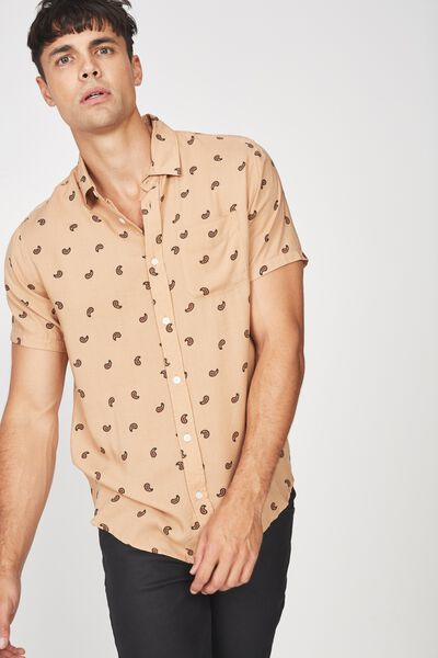 Short Sleeve Resort Shirt, TAN PAISLY