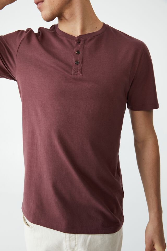 Organic Henley T-Shirt, AGED WINE