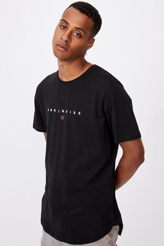 Longline Scoop T-Shirt, BLACK/NEW NOISE