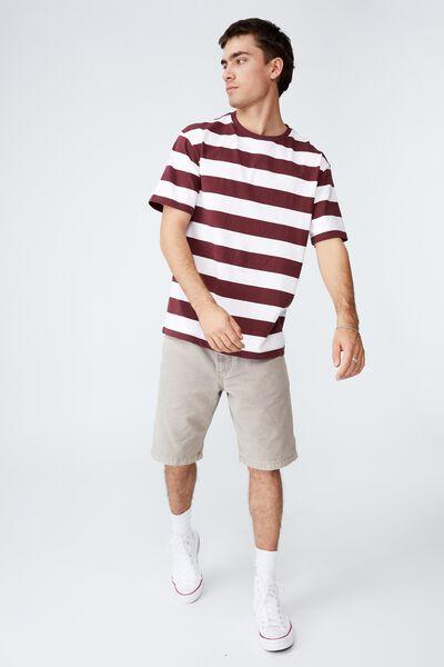 Loose Fit T-Shirt, BURGANDY/WHITE STRIPE