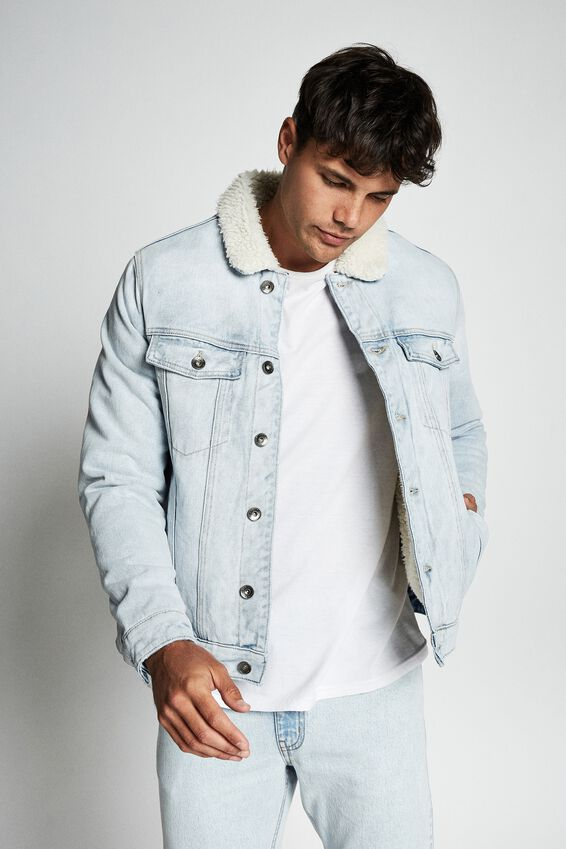Borg Denim Jacket, BLEACH