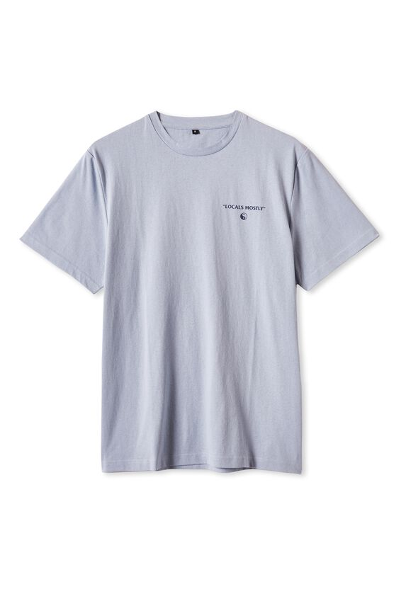 Tbar Text T-Shirt, BLUE HAZE/GOOD FOLKS
