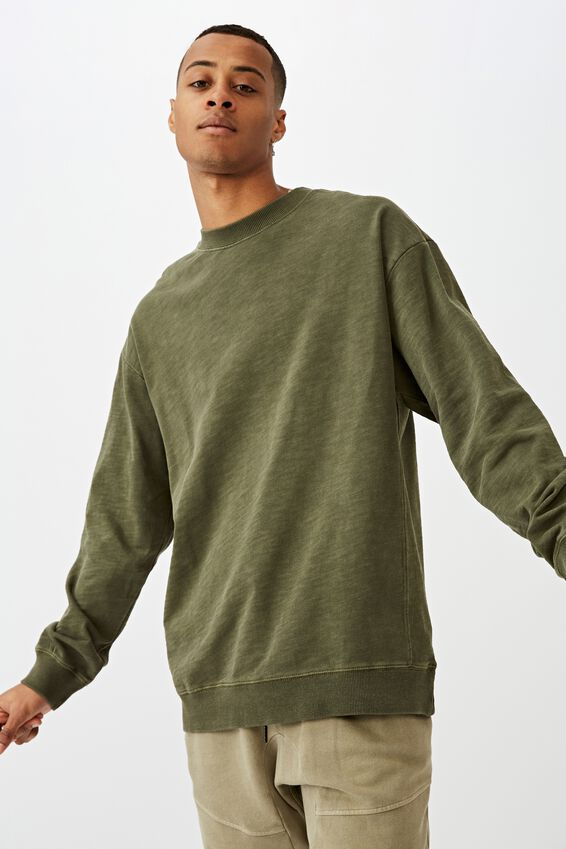 Pigment Dyed Oversized Crew, WASHED KHAKI