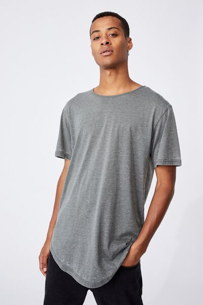 Longline Scoop Burnout T-Shirt, MILITARY