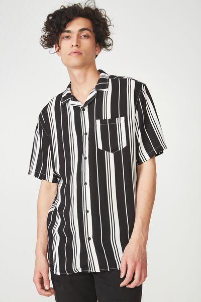 Festival Shirt, BLACK WHITE VERT STRIPE
