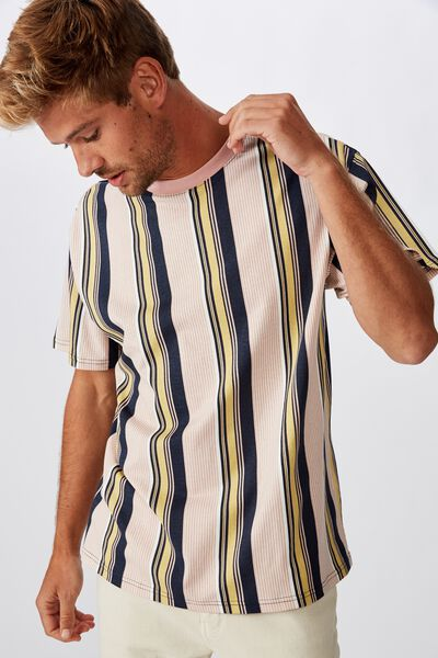 Downtown Loose Fit Tee, TRUE NAVY/FROSTED HONEY/DIRTY PINK/WHITE/VERT STRI