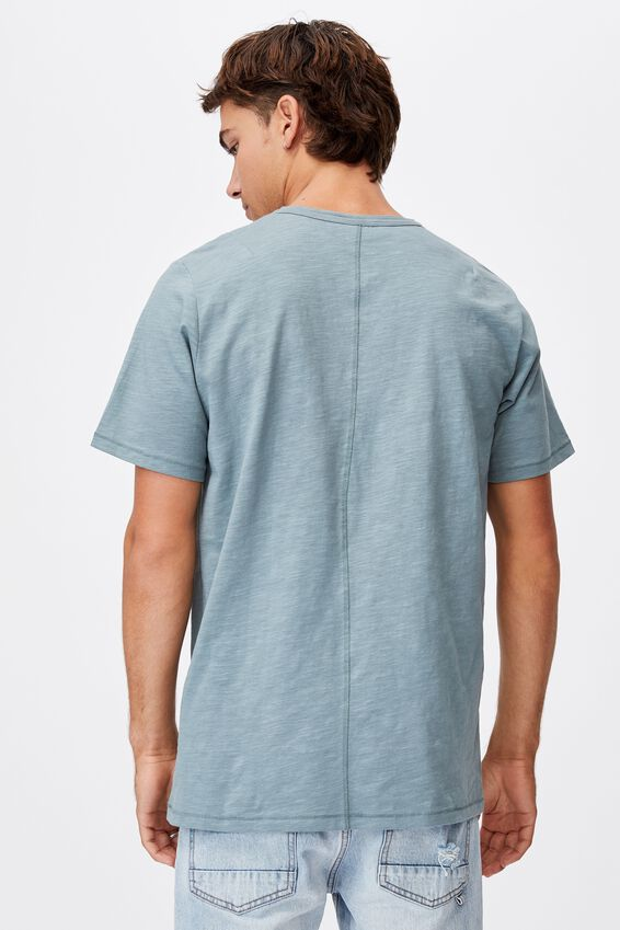 Slub Henley T-Shirt, SMOKEY TEAL
