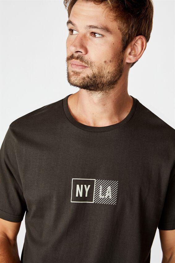 Longline Scoop Tee, WASHED BLACK/NY LA BOXED
