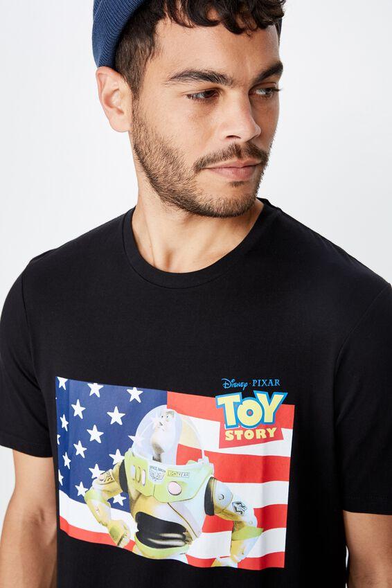 Toy Story T Shirt, LCN DIS BLACK/TOY STORY BUZZ FLAG