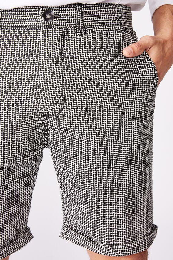 Washed Chino Short, BLACK / WHITE / HOUNDSTOOTH