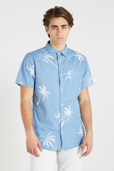 Vintage Prep Short Sleeve Shirt, LIGHT BLUE TROPICAL