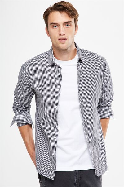 Slim Smart Shirt, BLACK/WHITE GINGHAM CHECK