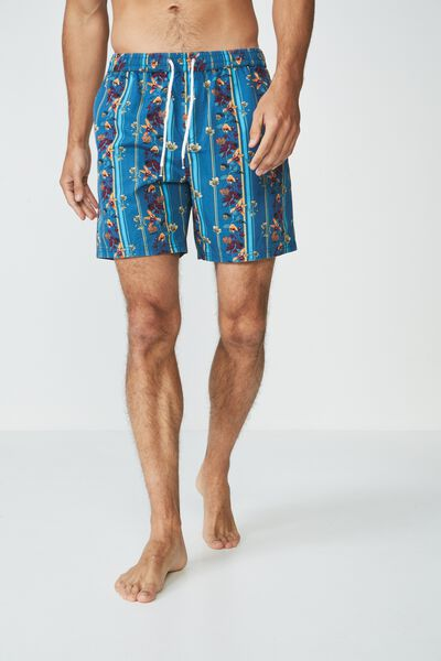 Hoff Short, TEAL FLORAL STRIPE