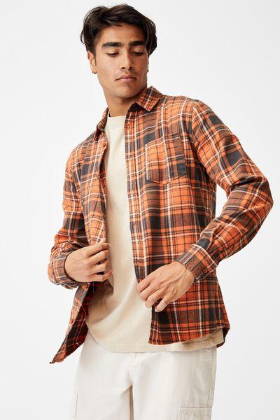 Washed Long Sleeve Check Shirt, ORANGE CHECK