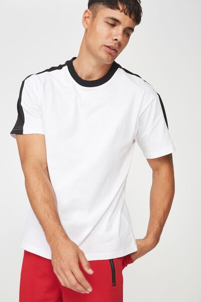 Downtown Loose Fit Tee, WHITE/MESH SHOULDER PANEL