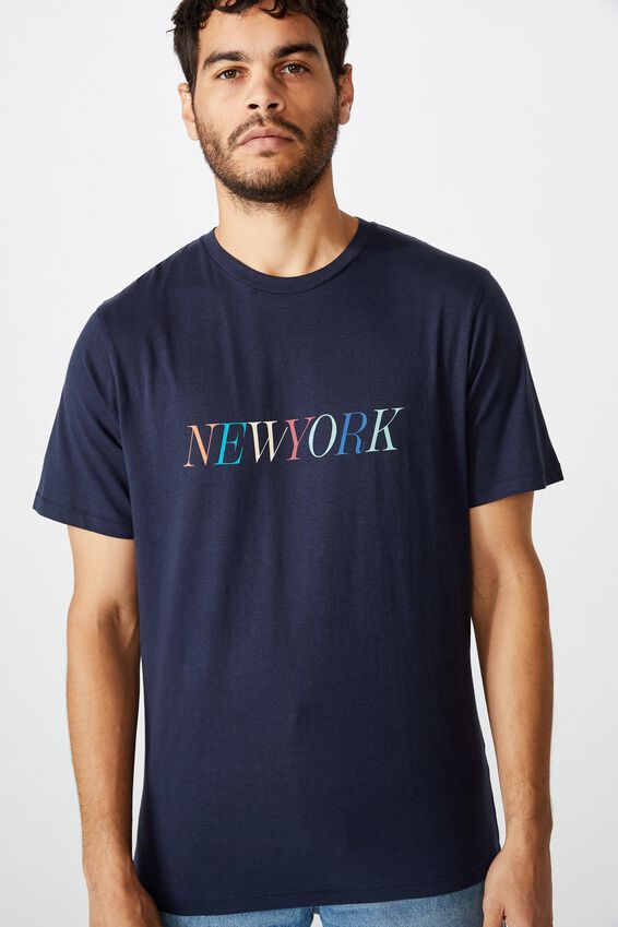Tbar Text T-Shirt, TRUE NAVY/NEW YORK COLOURS