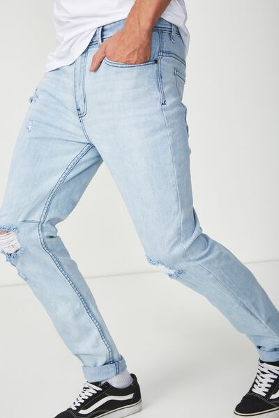 Tapered Leg Jean, AXEL WITH RIPS AND REPAIR