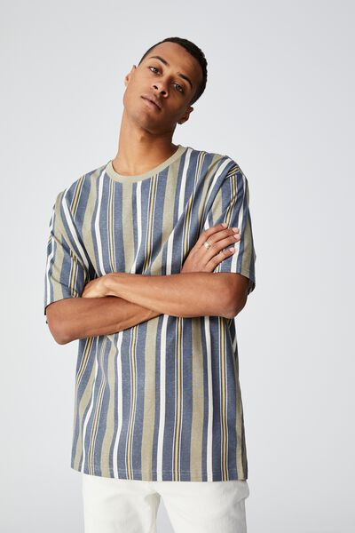 Downtown T-Shirt, DUSTY DENIM MIXED STRIPE