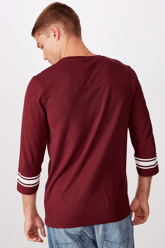 Tbar 3/4 Baseball Tee, PORT WINE/TRACK DIV