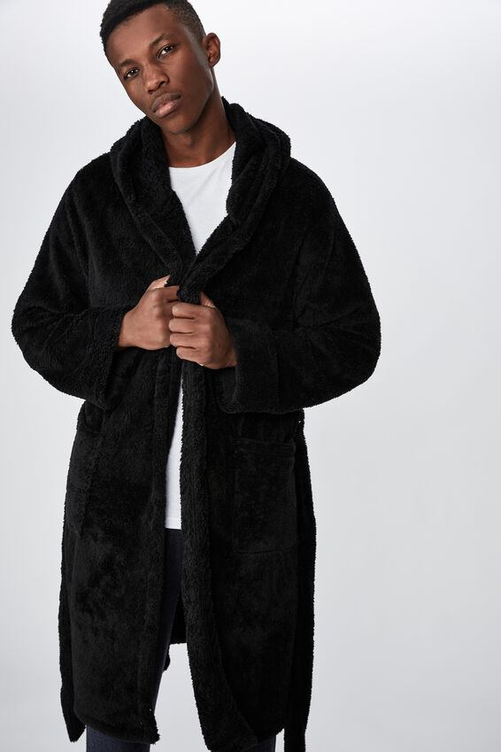 Mens Plush Gown, BLACK