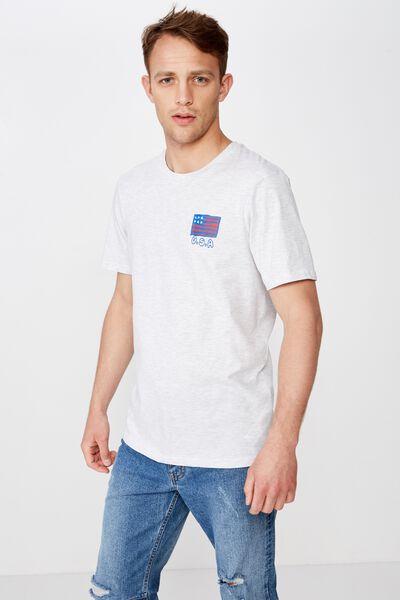 4Th July T-Shirt, WHITE MARLE/USA SKETCH