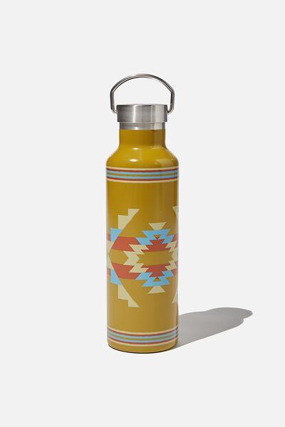 Metal Drink Bottle, GOLD IKAT