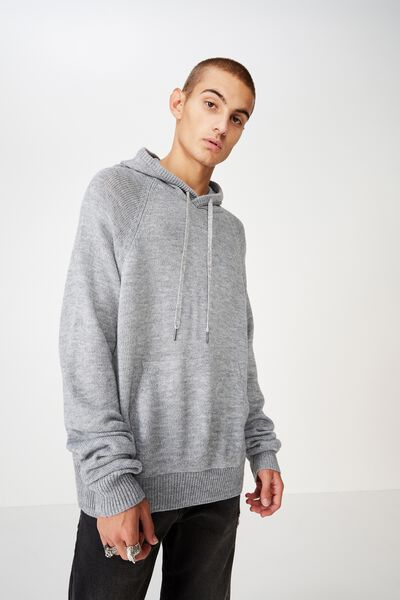 Hooded Sweater Knit, GREY MARLE