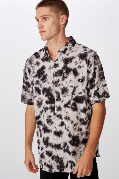 91 Short Sleeve Shirt, BLACK SWIRL TYEDYE