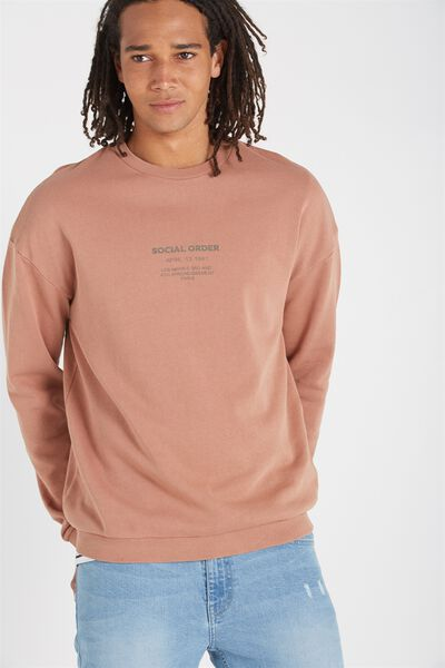 Drop Shoulder Crew Fleece, LATTE BROWN/SOCIAL ORDER