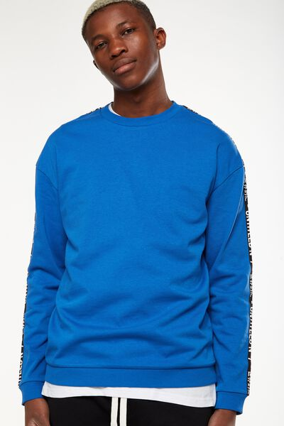 Drop Shoulder Crew Fleece, BLUE DELIGHT/UNTITLED NO 7