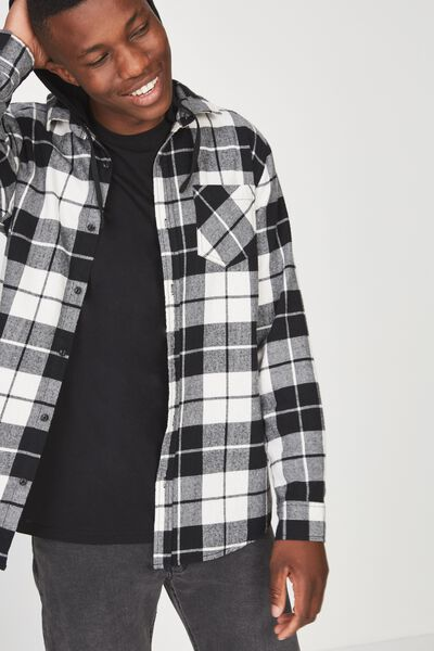 Rugged Hooded Shirt, BLACK WHITE CHECK