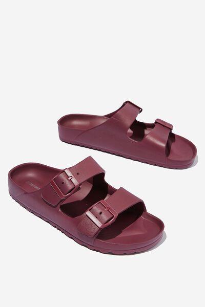 Eva Double Buckle Sandal, BURGUNDY