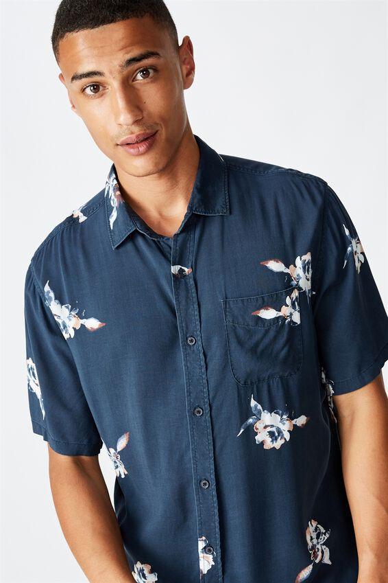 Short Sleeve Resort Shirt, NAVY SPACED FLORAL