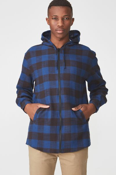 Zip Hood Shirt, BLACK BLUE CHECK